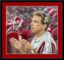 Alabama Crimson Commander Nick Saban Framed Picture