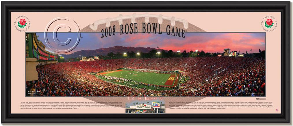 USC Trojans 2008 Rose Bowl Game Sunset Framed Poster