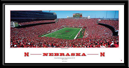 Springtime At Nebraska Football Poster Corn Huskers Framed
