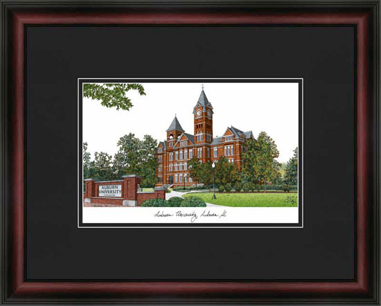 Auburn University Campus Lithograph Framed Picture Framed