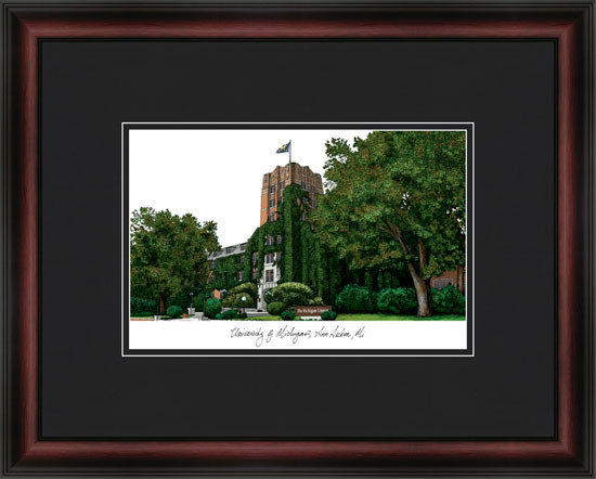 University of Michigan Campus Lithograph Picture