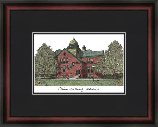 Oklahoma State University Campus Lithograph Framed Picture