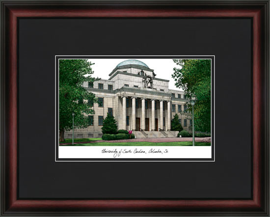 University Of South Carolina Campus Lithograph Framed Picture