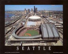 Seattle's Safeco Field and Seattle Kingdome Poster