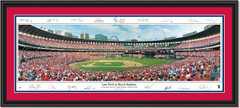 St. Louis Cardinals Last Pitch at Busch Stadium with Signatures DOUBLE MATTING and BLACK FRAME