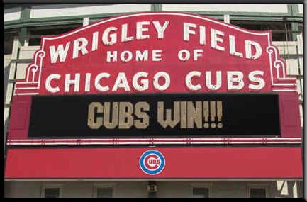 Cubs Win Poster Wrigley Field Sign Framed Picture