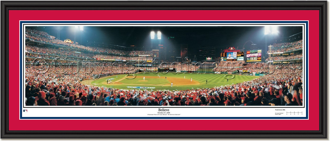 St. Louis Cardinals Believe Framed Poster DOUBLE MATTING and BLACK FRAME