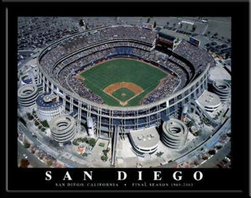 San Diego Padres Qualcomm Stadium Poster Framed Baseball
