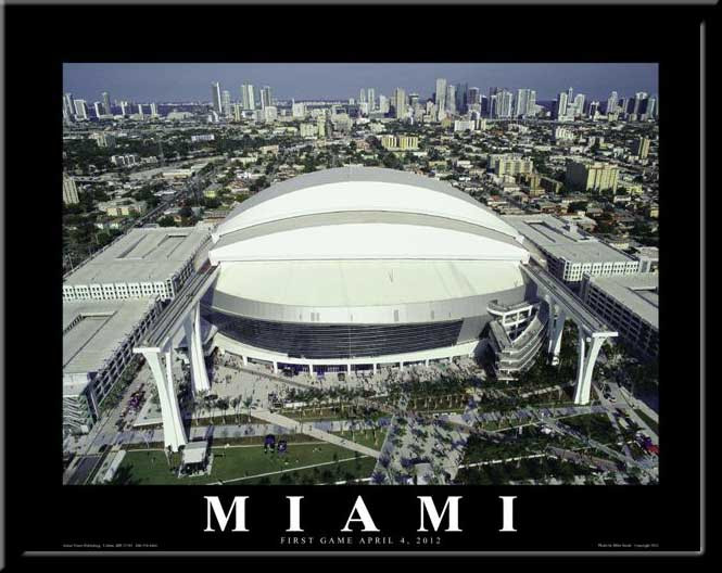 Miami Marlins First Game Marlins Stadium Poster