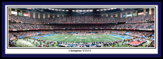 New England Patriots Super Bowl XXXVI Panoramic Poster