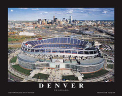 Denver Broncos Mile High Stadium Framed Aerial 2007 Poster