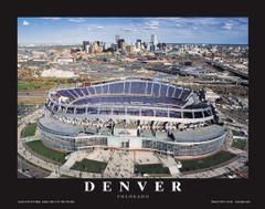 Denver Broncos Mile High Stadium Framed Aerial 2007 Poster