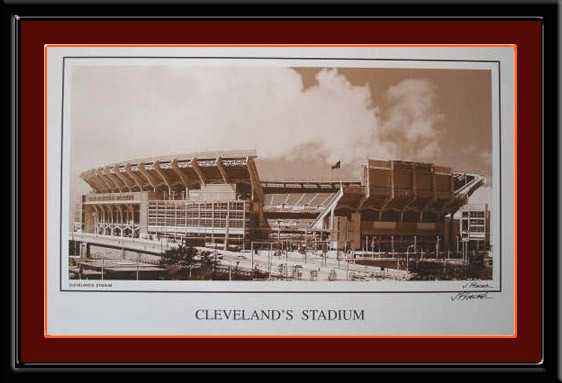 Cleveland Browns Stadium Black and White Photo
