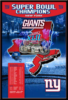 New York Giants Super Bowl XLII Champions New York on the Map