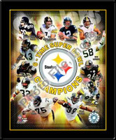 Pittsburgh Steelers 6 Time Super Bowl Greats Framed Poster