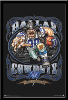 Dallas Cowboys Vintage NFL Poster Grinding It Out