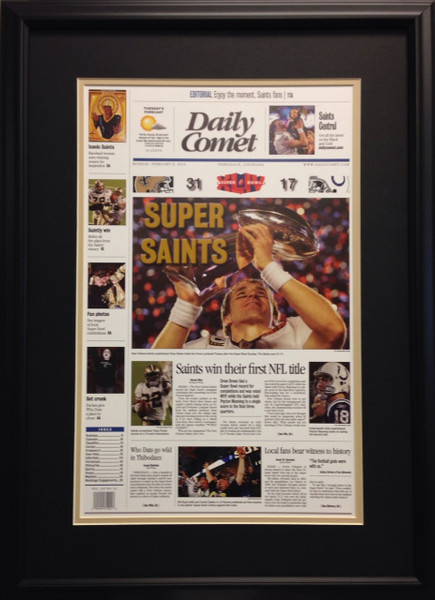 Super Saints 2010 Super Bowl Xliv Framed Headlines Framed