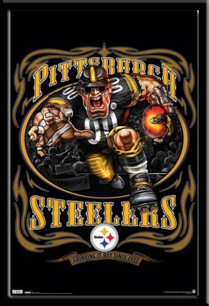 """Pittsburgh Steelers NFL Mascot Poster """"Grinding It Out"""""""