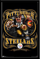 "Pittsburgh Steelers NFL Mascot Poster ""Grinding It Out"""