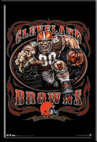 Cleveland Browns NFL Mascot Poster Grinding It Out