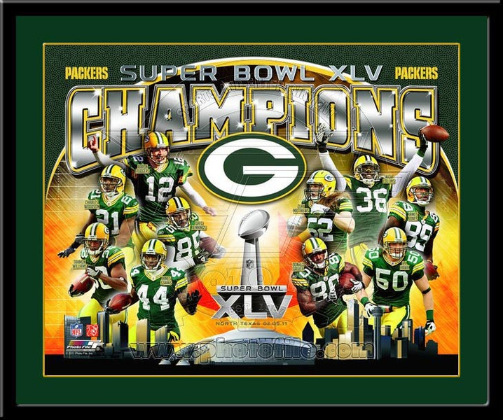 Packers Super Bowl XLV Lombardi Trophy Winners Framed Picture