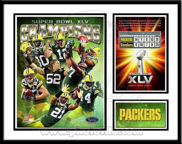 Green Bay Super Bowl XLV Memories and Milestones Framed Print