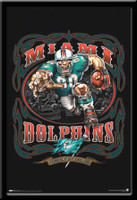 Miami Dolphins NFL Mascot Poster Grinding It Out