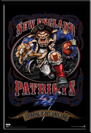 New England Patriots Football Team Mascot Poster Grinding It Out