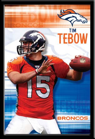 Denver Broncos Tim Tebow Framed Fan Poster