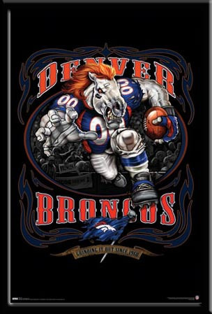 Denver Broncos Grinding It Out Framed Fan Poster