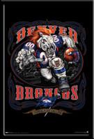 Denver Broncos Grinding It Out Framed Fan Poster