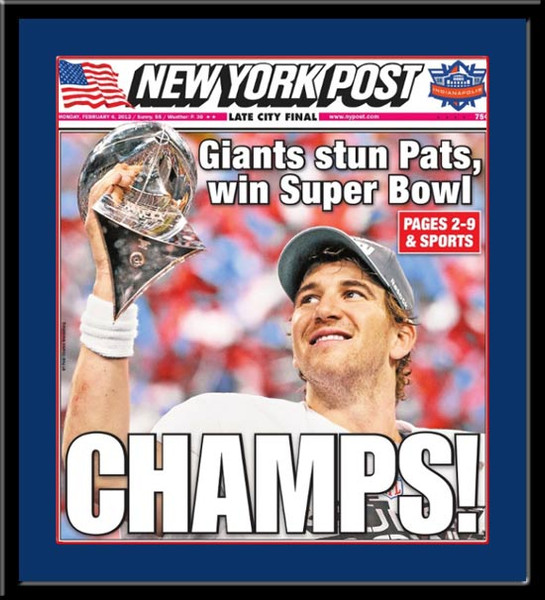 Giants New York Post Super Bowl Headlines Champs