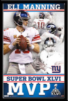 Giants Eli Manning MVP of Super Bowl XLVI Framed Poster