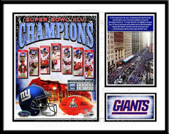 NY Giants Super Bowl XLVI Memories and Milestones Framed Print