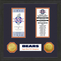 Chicago Bears Framed Super Bowl Ticket Collection