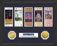 Dallas Cowboys Framed Super Bowl Ticket Collection