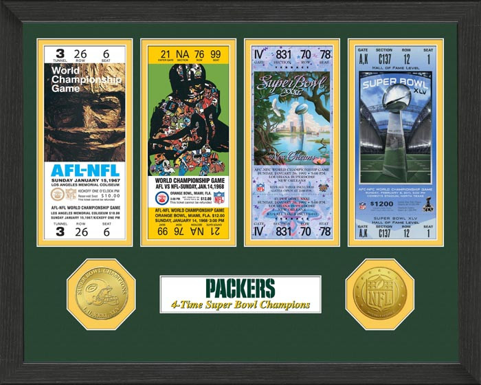 Green Bay Packers Framed Super Bowl Ticket Collection