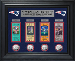 New England Patriots Framed Super Bowl Ticket Collection