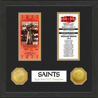New Orleans Saints Framed Super Bowl Ticket Collection