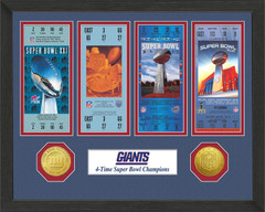 New York Giants Framed Super Bowl Ticket Collection