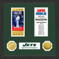 New York Jets Framed Super Bowl Ticket Collection