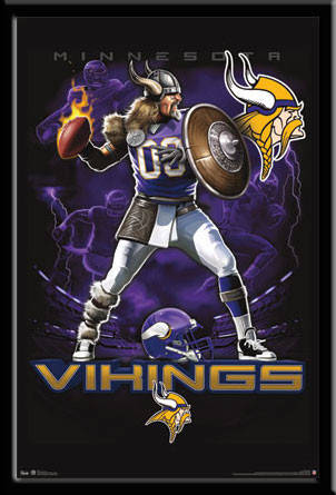 Minnesota Vikings Lightning Design Fan Poster