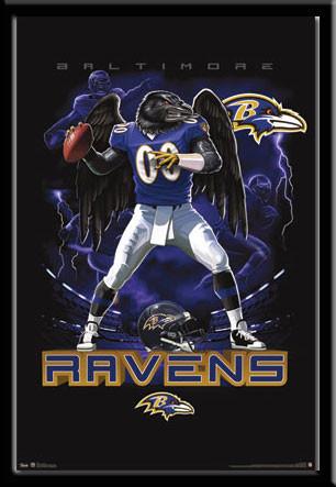 Baltimore Ravens Lightning Graphic Fan Poster Framed