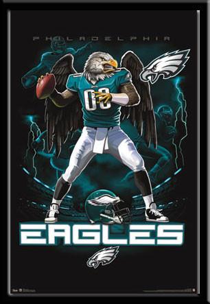 Philadelphia Eagles Lightning Design Framed Poster