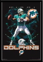 Miami Dolphins Football Lightning Design Fan Poster