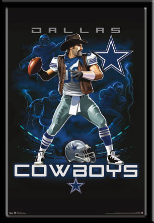 Dallas Cowboys Football Lightning Design Framed Sports Prints