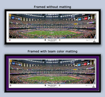 Super Bowl XLVII Panoramic Ravens Kick Off Framed Picture