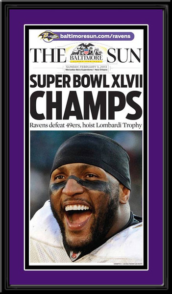 Baltimore Sun Times Super Bowl Xlvii Framed Headlines