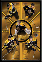 Boston Bruins Five Super Stars Player Framed Poster