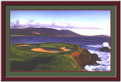 Pebble Beach Hole #7 Framed Golf Art Print